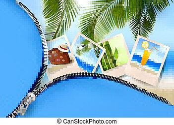 夏, 概念, 海岸, ホリデー, 写真, ベクトル, 背景
