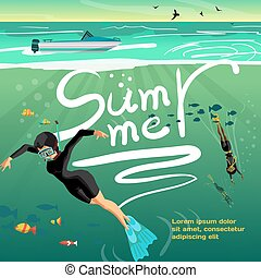 夏, 概念, 背景, スキューバ, スペース, text., 若い, 平ら, 休暇, ベクトル, イラスト, 海, 下に, 漫画, sunset., 飛び込み, ダイバー, 女性
