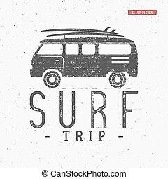 夏, 概念, logotype, 車。, 旅行, design., rv, 旗, 型, バックグラウンド。, レトロ, ...