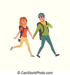 夏, 歩くこと, 女, 恋人, 若い, イラスト, 休暇, ベクトル, 一緒に, 背景, バックパック, の間, 白, 人, 旅行
