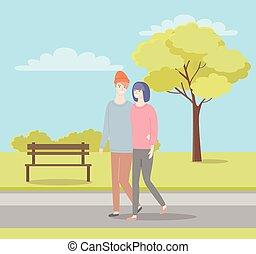 夏, 歩くこと, 女, 春, 公園, ∥あるいは∥, 人