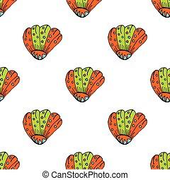夏, 殻, illustration., パターン, pattern., seamless, イラスト, 手, art-work., ベクトル, 海, 引かれる, shell., 創造的, 海洋, 輪郭