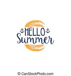 夏, 水彩画, ラベル, 定型, メッセージ, こんにちは