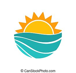 夏, 波, 太陽, シンボル。, 海, 日没