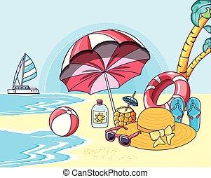 夏, 浜の 休暇, ポスター, アイコン