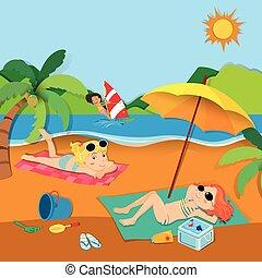 夏, 浜の 休暇, 人々