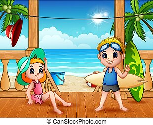 夏, 浜の 休暇, 風景
