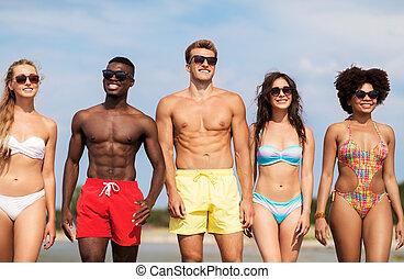 夏, 浜, サングラス, 友人, 幸せ