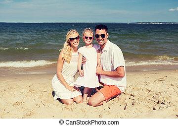 夏, 浜, サングラス, 家族, 幸せ