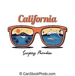 夏, 浜, サングラス, 海, 海洋