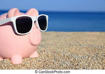夏, 浜, サングラス, 貯金箱