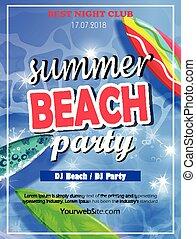 夏, 浜, テンプレート, パーティー