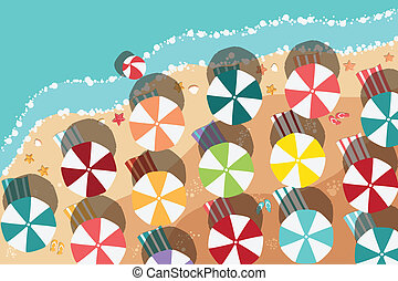 夏, 浜, デザイン, 平ら
