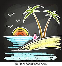 夏, 浜, バックグラウンド。, パーティー, ポスター