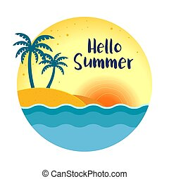 夏, 浜, ラウンド, 背景