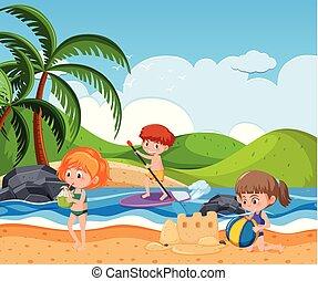 夏, 浜, 人々
