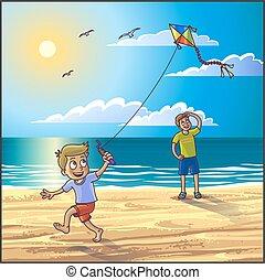 夏, 浜。, 休暇