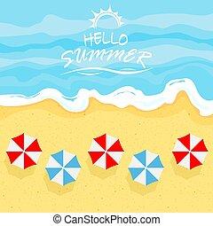夏, 浜, 傘, 海