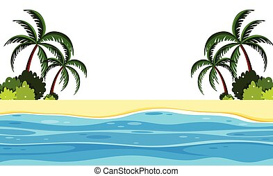 夏, 浜 場面