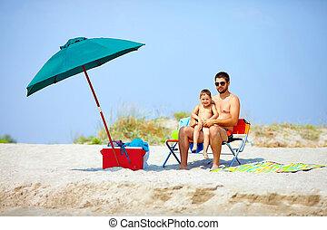 夏, 浜, 家族, 幸せ