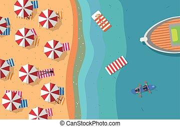 夏, 浜, 平ら