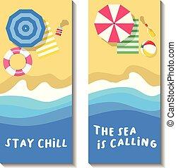 夏, 浜, 旗, 休暇