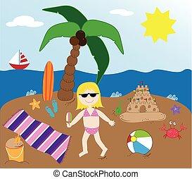 夏, 浜, 時間