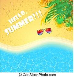 夏, 浜, 海, 背景