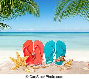夏, 浜, 砂, フリップフロップ