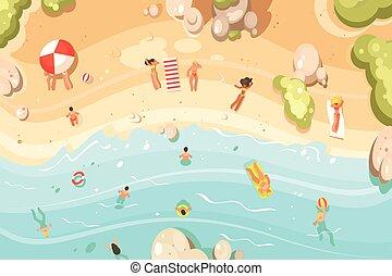 夏, 浜, 砂, vacationers