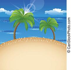夏, 浜, 空, 背景, やし, 休日