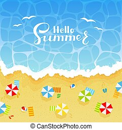 夏, 浜, 背景, 砂
