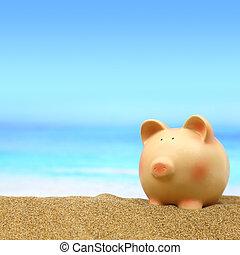 夏, 浜, 貯金箱