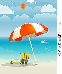 夏, 海岸, 休暇, イラスト