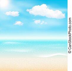 夏, 海岸, 休暇, clouds., 海岸, 海, 休日, 浜