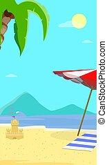 夏, 海景, フライヤ, 背景, 浜, 光景