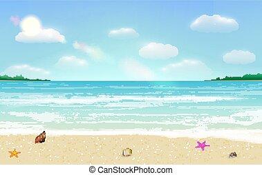 夏, 海, トロピカル, 砂, ベクトル, 背景, 浜