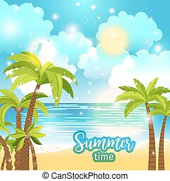 夏, 海, ベクトル, 背景, 時間, 光景