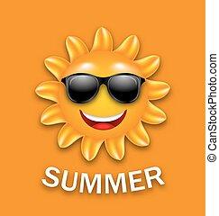 夏, 涼しい, サングラス, 幸せ, 太陽