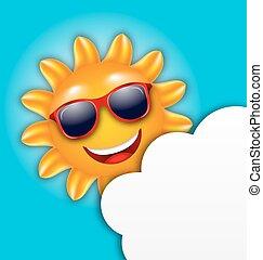 夏, 涼しい, サングラス, 雲, 太陽