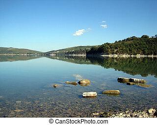 夏, 湖, abrau, 朝