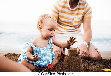 夏, 父, holiday., 女の子, よちよち歩きの子, 浜, 遊び