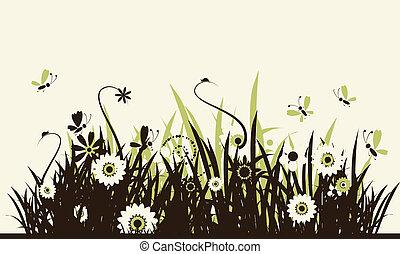 夏, 牧草地, 美しい