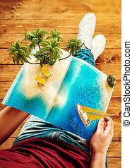 夏, 珍しい, 概念, 開いた, やし, デッキチェア, 島, 旅行, 休暇, トロピカル, 雑誌, illustration., ページ, hands., 3d