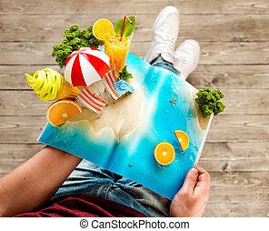 夏, 珍しい, 概念, 開いた, 島, 旅行, 休暇, 氷, トロピカル, ジュース, 雑誌, やし, 新たに, illustration., 3d, ページ, hands., クリーム