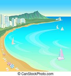 夏, 現場, 湾, 傘, 青, 旅行, 空, 休暇, バックグラウンド。, 暑い, 風景, ボート, 浜, ...