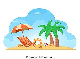 夏, 生活, ボール, 傘, ヒトデ, 木, ココナッツ, トロピカル, 背景, 椅子, 浜, リング, スリッパ