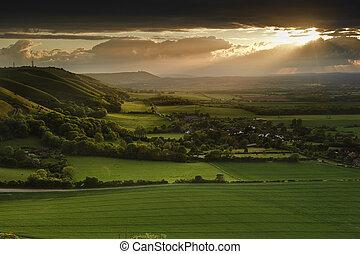 夏, 田舎, 上に, 急斜面, 気絶, 日没, 風景