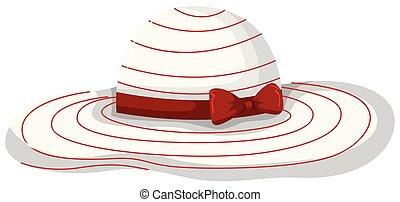 夏, 白, 女, 帽子, 背景