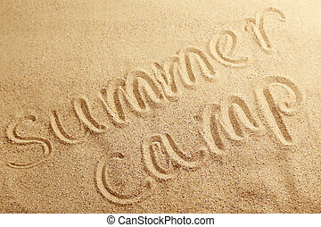 夏, 砂, キャンプ, 浜, 手書き
